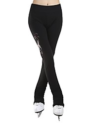 cheap -Over The Boot Figure Skating Tights Women's Girls' Ice Skating Pants / Trousers Black Spandex Stretchy Performance Practise Skating Wear