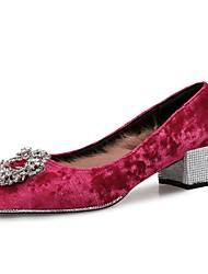 Недорогие -Жен. Обувь Искусственное волокно Бархат Зима Осень Удобная обувь Обувь на каблуках На толстом каблуке Лак для Для праздника Для вечеринки