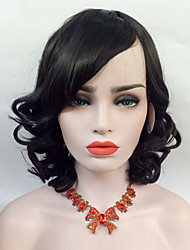 cheap -Women Synthetic Capless Wig Middle Long Black Wavy Hair  With Side Bangs Cosplay Wig.