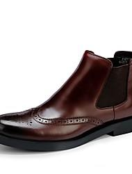 billiga -Herr Fashion Boots Läder Höst / Vinter Stövlar Stövletter Svart / Vinröd