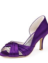 cheap -Women's Shoes Silk Spring Summer Basic Pump Wedding Shoes Stiletto Heel Peep Toe Draping for Wedding Party & Evening Light Purple