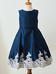cheap -Ball Gown Knee Length Flower Girl Dress - Satin Sleeveless Jewel Neck with Laces Buttons Belt by Thstylee
