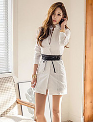 cheap -Women's Going out Simple Shirt Dress,Solid Shirt Collar Above Knee Long Sleeve Cotton Spring Fall Mid Rise Micro-elastic Opaque