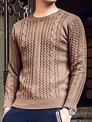 abordables -Hombre Manga Larga Pullover - Color sólido Escote Redondo