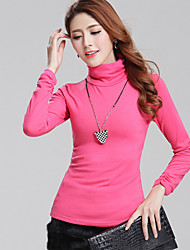 cheap -Women's T-shirt - Solid Colored Turtleneck