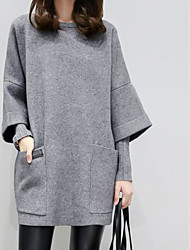 cheap -Women's Plus Size Going out Casual Sweatshirt Solid Round Neck Without Lining Micro-elastic Polyester Long Sleeve Winter Autumn/Fall