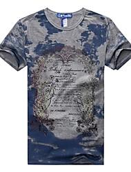 baratos -Homens Camiseta Temática Asiática Estampado, Letra Algodão Decote Redondo