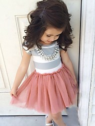 cheap -Girl's Daily Going out Holiday Solid Striped Dress, Cotton Acrylic All Seasons Short Sleeves Simple Cute Blushing Pink
