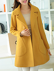 cheap -Women's Going out Simple Casual Winter Fall Coat,Solid Shirt Collar Long Sleeve Regular Polyester