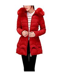 Недорогие -Пальто Простое Длинная Пуховик Для женщин,Однотонный На каждый день Хлопок Перо,Длинный рукав