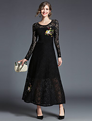 cheap -Women's Puff Sleeve Sheath Lace Dress - Solid Floral, Lace Mesh Maxi