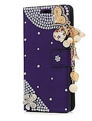 Недорогие -Кейс для Назначение Apple iPhone X / iPhone 8 Plus Бумажник для карт / Стразы / со стендом Чехол Цветы Твердый Кожа PU для iPhone X / iPhone 8 Pluss / iPhone 8