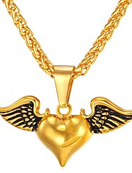 cheap -Women's Cool Heart Stainless Steel Pendant Necklace  -  Vintage Wings / Feather Gold Silver Necklace For Gift Daily