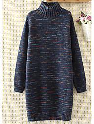 preiswerte -Lang Pullover-Alltag Solide Rollkragen Langarm Polyester Wollmischung Frühling Undurchsichtig Mikro-elastisch