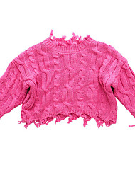 cheap -Boys' Daily Solid Sweater & Cardigan, Cotton Spring Long Sleeves Simple Black Fuchsia