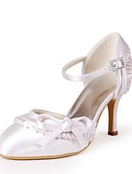 abordables -Femme Chaussures Soie Printemps / Eté Escarpin Basique Chaussures de mariage Talon Aiguille Bout ouvert Noeud Ivoire / Mariage / Soirée & Evénement
