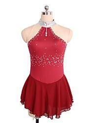 abordables -Robe de Patinage Artistique Femme / Fille Patinage Robes Rouge / Bleu royal Spandex Tenue de Patinage Paillette Sans Manches Patinage