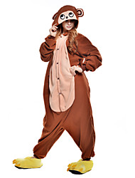 abordables -Pyjamas Kigurumi Singe Combinaison de Pyjamas Costume Polaire / Fibre synthétique Marron Cosplay Pour Adulte Pyjamas Animale Dessin animé