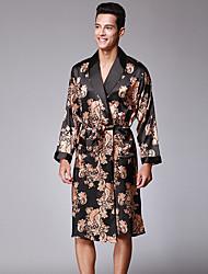 cheap -Men's Satin & Silk Pajamas,Print Polyester Wine Gray Camel Black