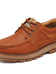 cheap -Men's Shoes Real Leather Cowhide Nappa Leather Spring Fall Comfort Athletic Shoes Hiking Shoes for Casual Outdoor Dark Brown Light Brown