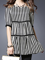 cheap -Women's Daily Casual Spring Summer Blouse,Striped Round Neck ½ Length Sleeve Cotton