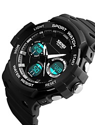 baratos -SKMEI Homens Relógio Esportivo Chinês Calendário / Impermeável / Cronômetro Silicone Banda Luxo / Casual / Fashion Preta / Verde / Cinza / Noctilucente