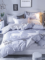 cheap -Duvet Cover Sets Contemporary Poly / Cotton Reactive Print 4 Piece