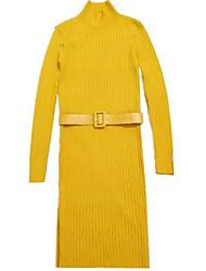 preiswerte -Damen Freizeit Strickware Kleid Solide Knielang Rollkragen Hohe Taillenlinie