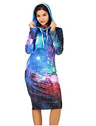 cheap -Women's Long Sleeves Long Hoodie - Galaxy