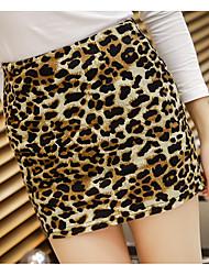 cheap -Women's Cotton Bodycon Skirts - Leopard / Spring / Fall