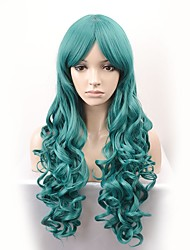 cheap -New fashion wig long section dark green wavy curvature high temperature silk wig
