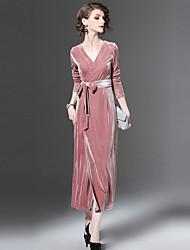 baratos -Mulheres Feriado Simples Solto Médio Vestido Sólido Decote V Manga Longa Cintura Alta Outono