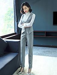 abordables -Femme Travail Chic de Rue Chemise - Couleur Pleine Pantalon Col Ras du Cou