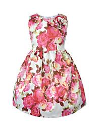 abordables -Robe Fille de Soirée Quotidien Couleur Pleine Fleur Jacquard Coton Acrylique Printemps Eté Sans Manches simple Rétro Rose Claire