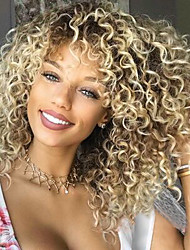 cheap -Synthetic Wig Afro / Kinky Curly Bob Haircut / With Bangs Synthetic Hair Side Part / African American Wig Blonde Wig Women's Capless