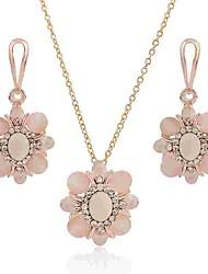 abordables -Mujer Ópalo Conjunto de joyas - Ópalo, Diamante Sintético Flor Clásico, Moda Incluir Pendientes colgantes / Collar Dorado Para Diario
