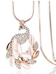 abordables -Femme Opale Pendentif de collier - Opale, Imitation Diamant Paon Classique, Mode Or Colliers Tendance 1 Pour Quotidien