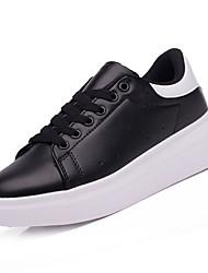 abordables -Femme Chaussures Polyuréthane Automne Confort Basket Talon Plat Bout rond Noir / Noir / blanc / Blanc et vert