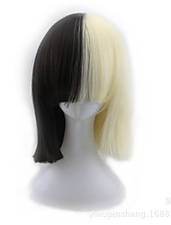 abordables -Perruque Synthétique Droit Coupe Carré Perruque afro-américaine Cheveux Colorés Blond Femme Sans bonnet Perruque de fête Perruque
