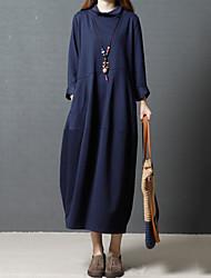 Недорогие -Жен. Шинуазери (китайский стиль) Свободный силуэт Платье - Однотонный Хомут
