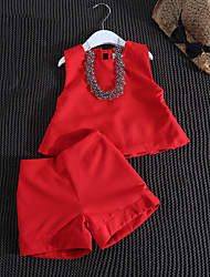 cheap -Girls' Daily Solid Clothing Set, Cotton Bamboo Fiber Spandex Spring Sleeveless Casual Red