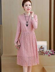cheap -Women's Cotton Lace Dress - Solid Colored Asymmetrical Crew Neck