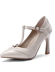 preiswerte -Damen Schuhe Kunstleder Frühling Sommer Pumps High Heels Stöckelabsatz Spitze Zehe Schnalle für Hochzeit Party & Festivität Schwarz Beige