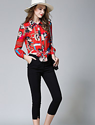 baratos -Mulheres Camisa Social - Estampado Calça Colarinho de Camisa
