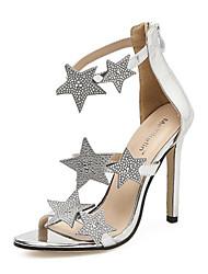abordables -Mujer Zapatos Semicuero Primavera / Otoño Confort / Innovador / Botas de Moda Sandalias Tacón Stiletto Negro / Plata / Boda