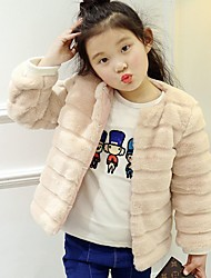 cheap -Girls' Solid Blouse,Acrylic Winter Long Sleeve Simple Blushing Pink Red Black White Brown