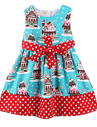 cheap -Girl's Daily Going out Polka Dot Geometric Dress, Cotton Polyester Summer Spring, Fall, Winter, Summer Sleeveless Cute Casual Cartoon Blue