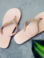economico -Da donna Scarpe PVC Estate Comoda Pantofole e infradito Ballerina Punta tonda per Casual Oro Nero Tessuto almond