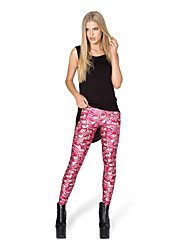 cheap -Women's Retro Cotton Opaque Solid Color Stitching Lace Legging,Print Red