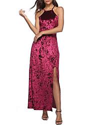 baratos -Mulheres Veludo Bainha Vestido Sólido Assimétrico Longo